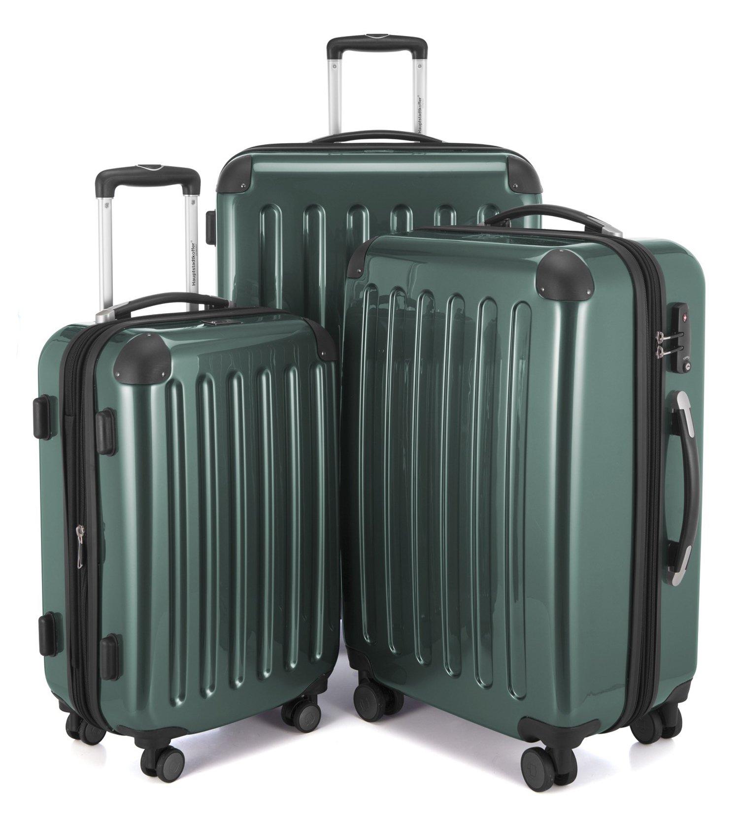 HAUPTSTADTKOFFER Alex Double Wheel Luxurious Luggage Set 18 different colors Suitcase Set Size (20'24'28') Trolley TSA Darkgreen