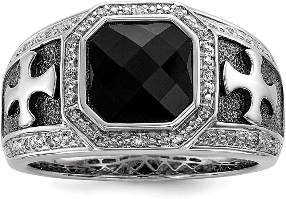 10 Size Sterling Silver Diamond /& Onyx Black Rhodium-plated Cross Mens Ring Sterling Silver