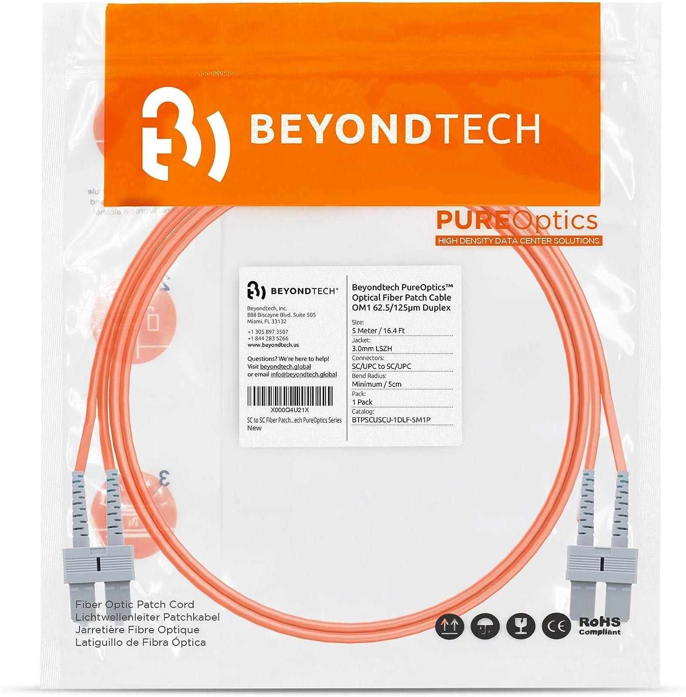 Cable de Fibra /Óptica SC a SC 3M Multimodo Duplex 62.5//125um OM1 UPC//UPC Beyondtech PureOptics Cable Series LSZH - Latiguillo Doble Fibra /Óptica