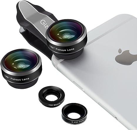 gizcam iPhone Lens 3 en 1 Lens Kit, 198 Degree Fisheye Lens + 0.63 ...