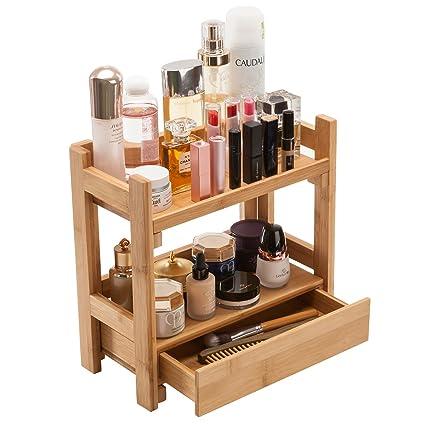 Gobam Makeup Organizer Holder Cosmetic Storage Bathroom Organizer Display  Shelf With Drawer, Large Capacity,