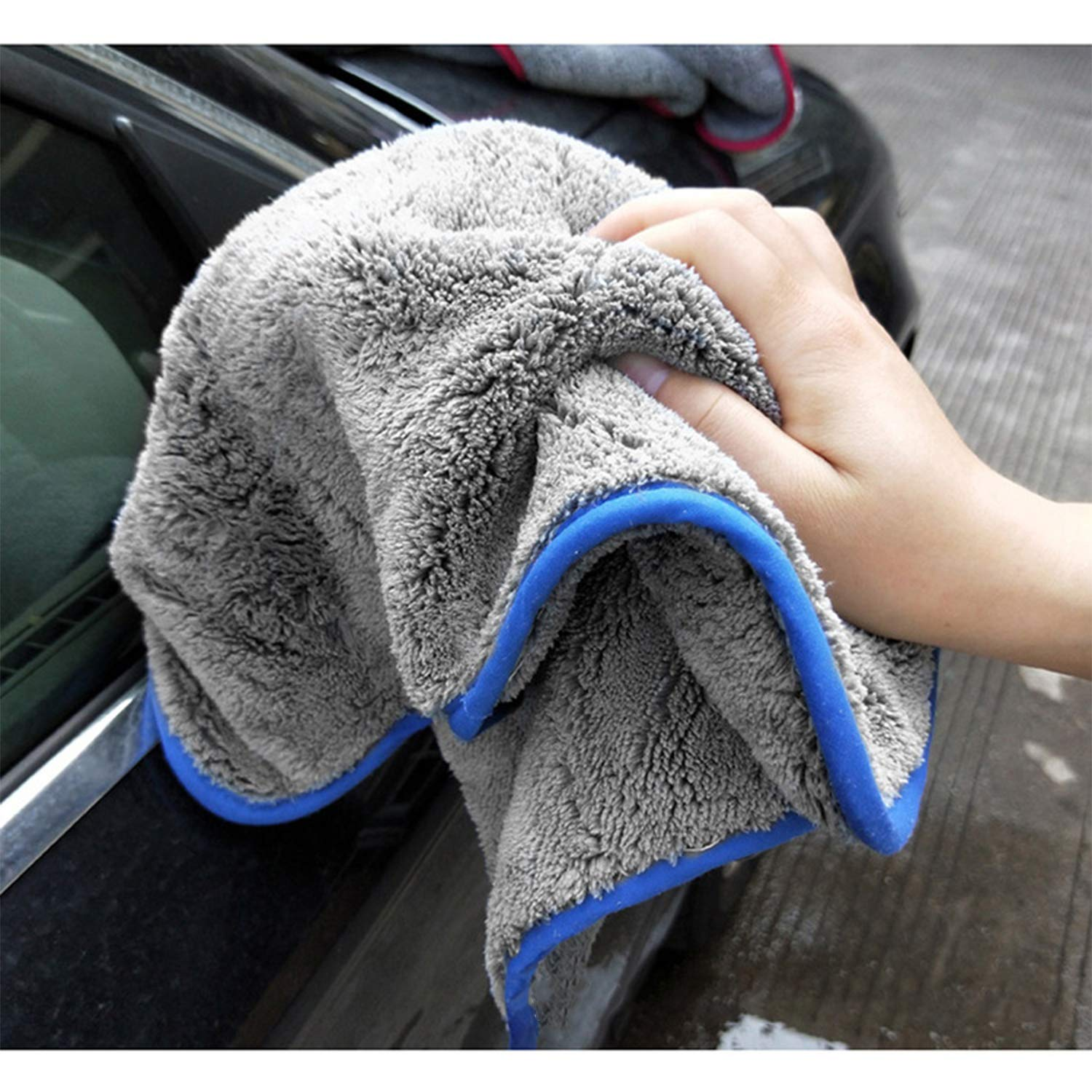 Lint Free Streak Free for Tackling 2 Extra Thick Microfiber Cleaning Cloths,Car Drying Cloths Car Drying Towel Rubber Gloves Kit Super Absorbent Dust Cloths Buffing Cloths with Two Color on Two Side