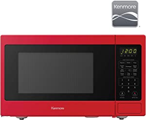 Kenmore 70928 0.9 cu. ft Small Compact 900 Watts 10 Power Settings, 12 Heating Presets, Removable Turntable, ADA Compliant Countertop Microwave, Red