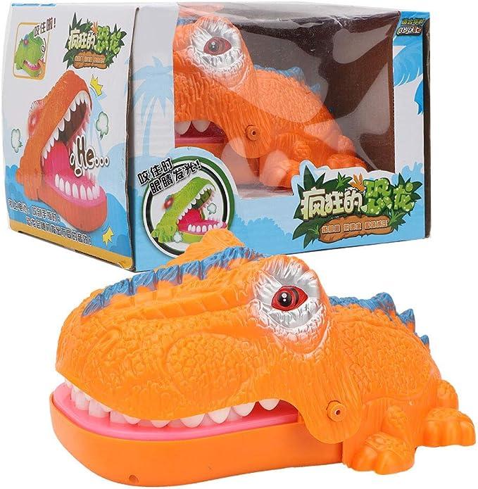 Dinosaurio de dibujos animados portátil que muerde juego del dedo con sonido y luz divertido juguetes de juego de mesa para niños adultos(naranja): Amazon.es: Bebé
