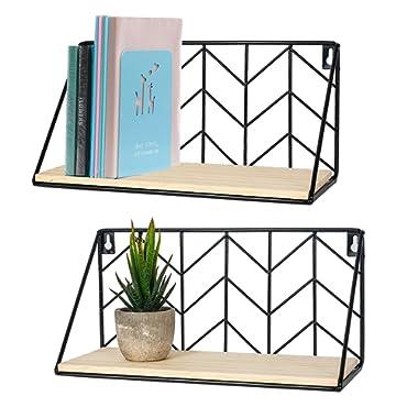 TIMEYARD Floating Shelves Wall Mounted Set of 2 Rustic Arrow Design Wood Storage for Bedroom, Living Room, Bathroom, Kitchen, Office, etc