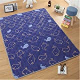 Ustide Baby Play Mat Cotton Floor Gym - Non-Toxic Non-Slip Reversible Washable, Whale