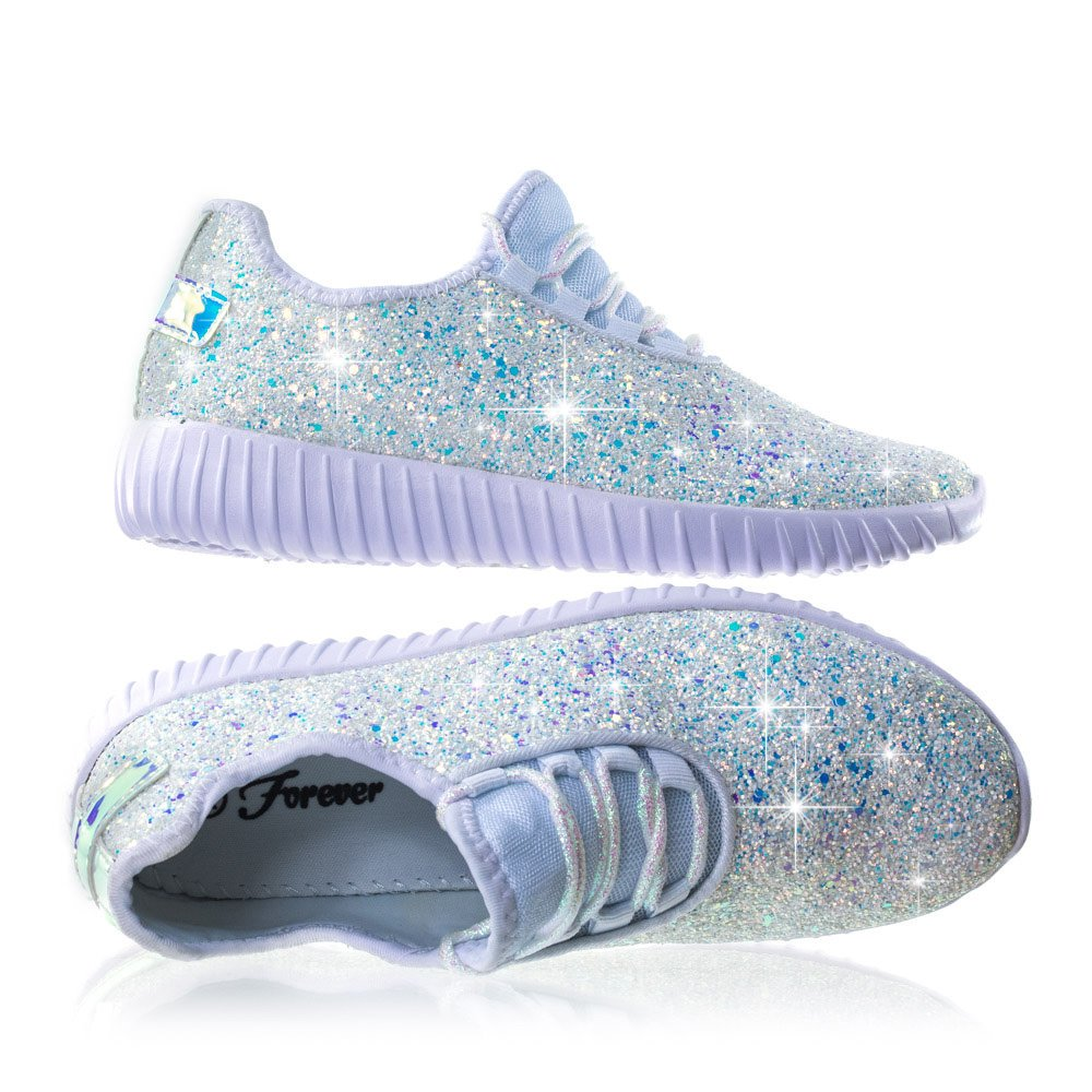 Forever Link Women's REMY-18 Glitter Fashion Sneakers White 8