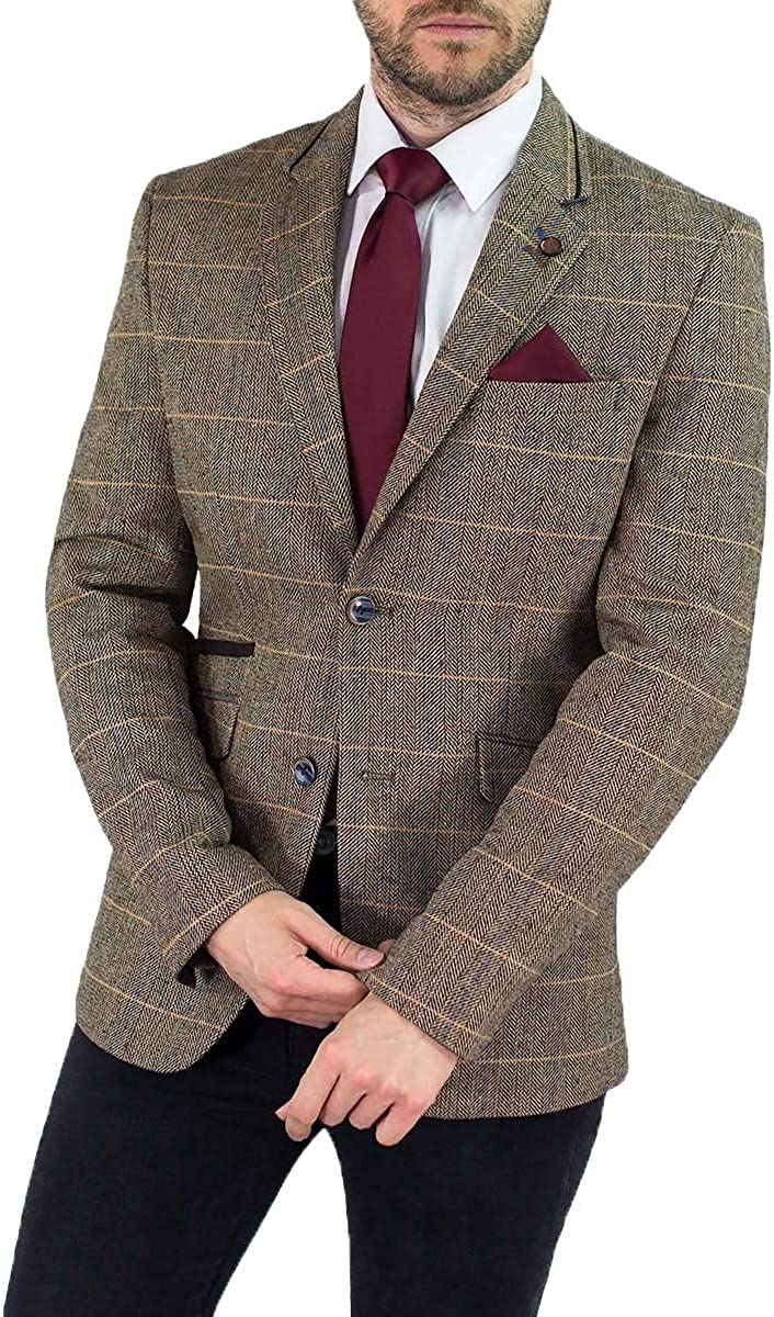Cavani Mens Albert Slim Fit Tweed Check Jacket Blazer