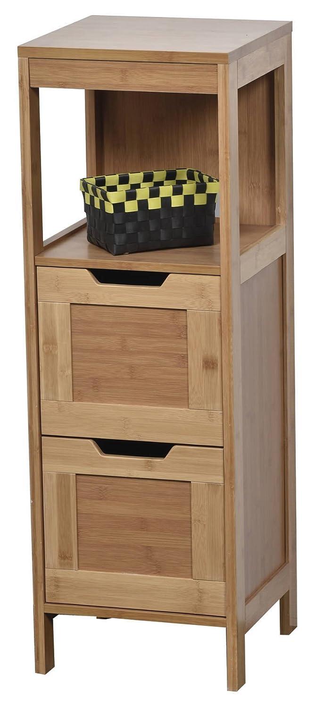 Tendance Mahe Bamboo Door Cabinet and 2 MDF Drawers + 1 Shelf, Wood, White/Oak, 30x30x89.5 cm 9902195