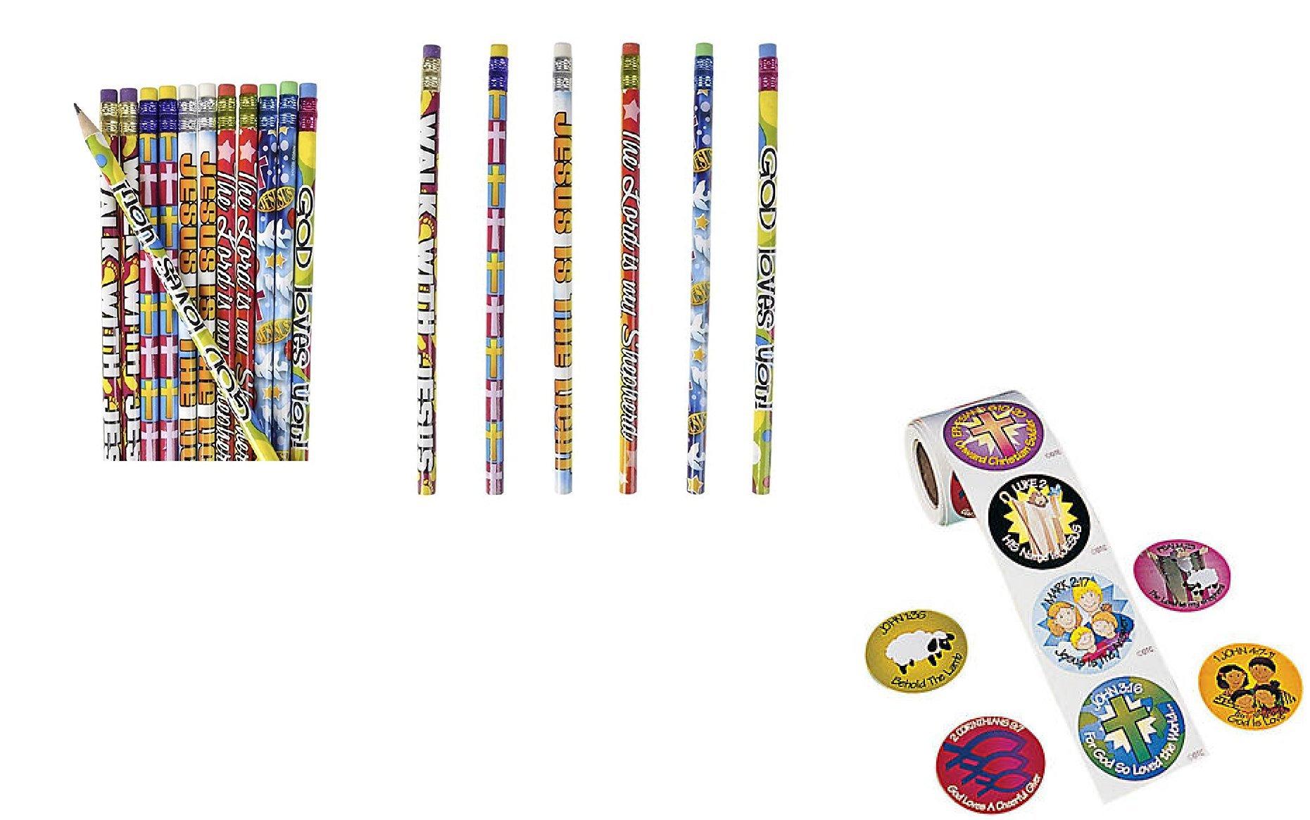 Religious -''Jesus Loves Me'' Favors - 24 Pencils & 100 Bible Verse Stickers - CLASSROOM Rewards TEACHER VBS Education GOD -