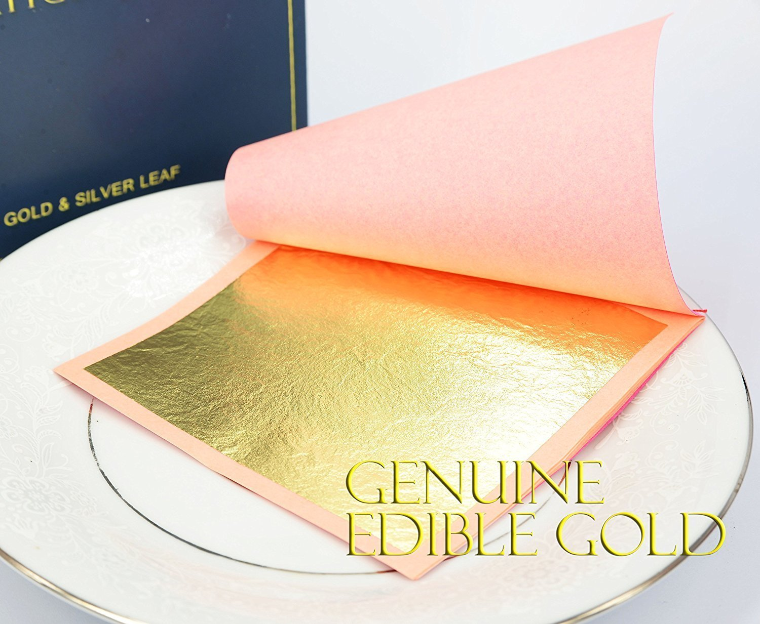 Edible Genuine Gold Leaf Sheets by Barnabas Blattgold, 10 Sheets (Loose Leaf), 3 1/8 inches Booklet, Professional Quality