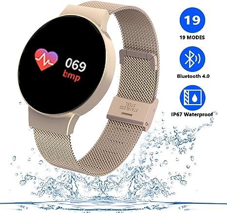 TZLong Reloj Inteligente Mujer Niña,Smartwatch con Pulsómetro ...
