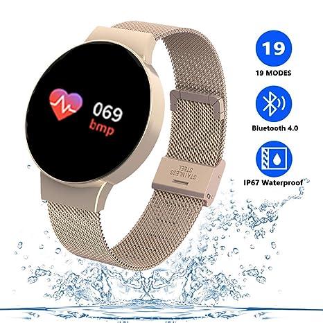 TZLong Reloj Inteligente Mujer Niña,Smartwatch con Pulsómetro Pulsera Actividad Inteligente Multifuncion Pulsómetros Podómetro Reloj Deportivo Monitor ...