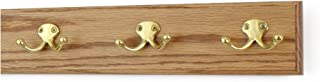 """product image for PegandRail Oak Coat Rack with Solid Brass Double Style Hooks (Golden Oak, 15"""" x 3.5"""" with 3 Hooks)"""