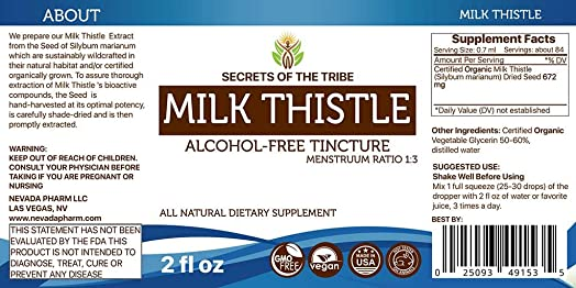 Milk Thistle Alcohol-Free Liquid Extract, Organic Milk Thistle Silybum marianum Dried Seed Tincture Supplement 2 FL OZ