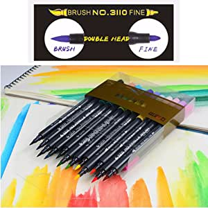 24 Colors Dual Tip Brush Marker Pens, Non-Toxic Water Based Watercolor Markers for Adult Coloring Book, Drawing, Writing