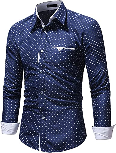 Mr Macy Men Casual Formal Polka Dot Slim Fit Long Sleeve Dress Shirt Top Blouse At Amazon Men S Clothing Store