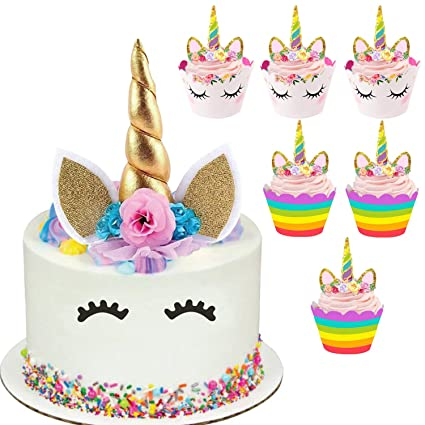 Unicorn Cake Topper with 24 pcs Unicorn Cupcake Toppers Wrappers Horn Cake  Decorations for Birthday Party, Baby Shower