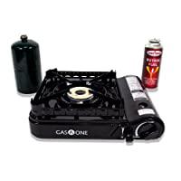 Gas ONE GS-3900P Dual Fuel Propane Or Butane Portable Stove with Brass Burner Head, Dual Spiral Flame 15,000 Btu Gas Stove with Convenient Carrying Case Latest 2017 Model