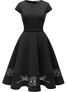 MUADRESS Vintage Women Cap-Sleeve Cocktail Party Dresses Perspective Lace Hemline