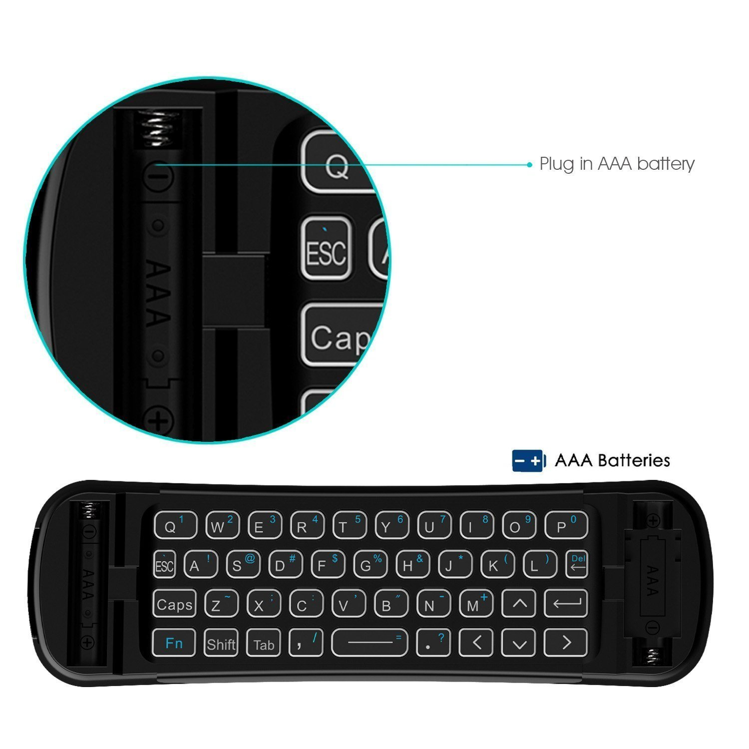 Rii Backlit Fly Mouse 2.4G MX6 Multifunctional Wireless Mini Keyboard and Remote Control With Microphone For KODI,Raspberry Pi 2,3, Android TV/Box/Mini PC,IPTV,HTPC,Android,Windows,MAC by Rii (Image #6)
