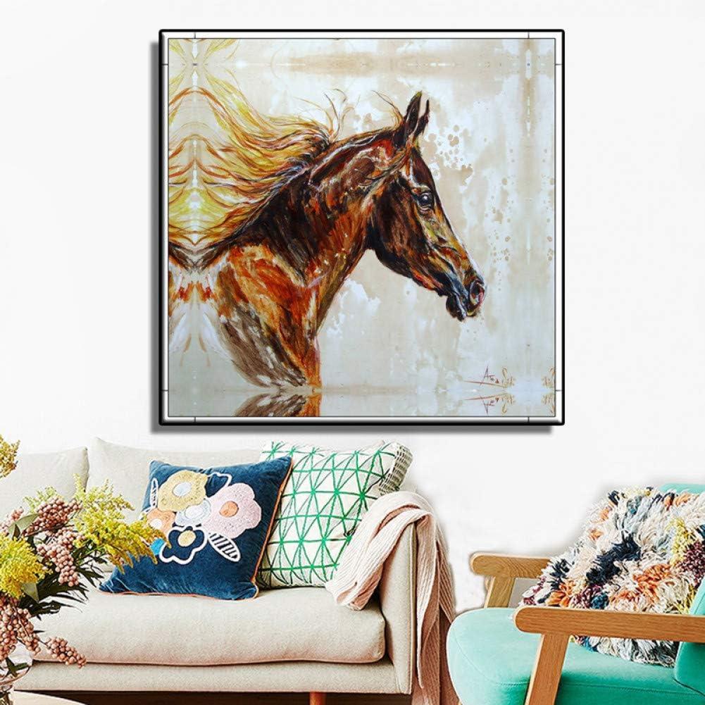 GUDOJK Cuadro en Lienzo Mural Cuadro en Lienzo Arte de la Pared Reproducciones de Cuadros Famosos Animales Caballo Pinturas decorativas-40x40cm