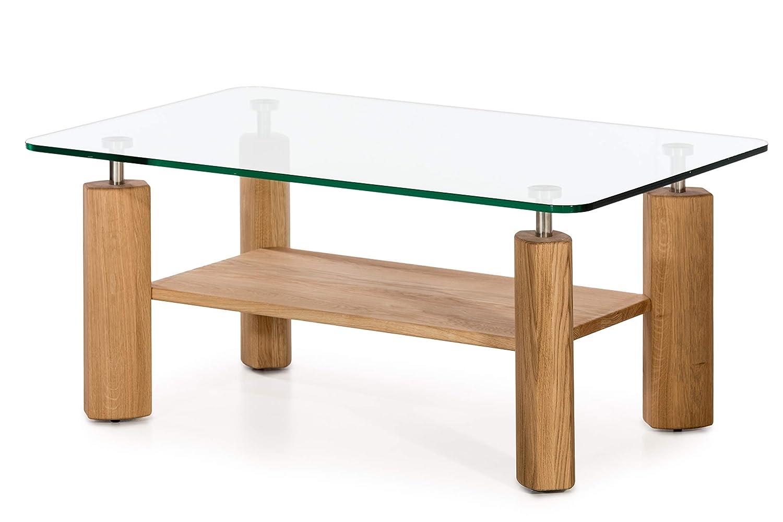 Marchio  -/Alkove Tavolino da salotto con ripiano in vetro Hayes stile moderno in quercia selvatica in legno massello