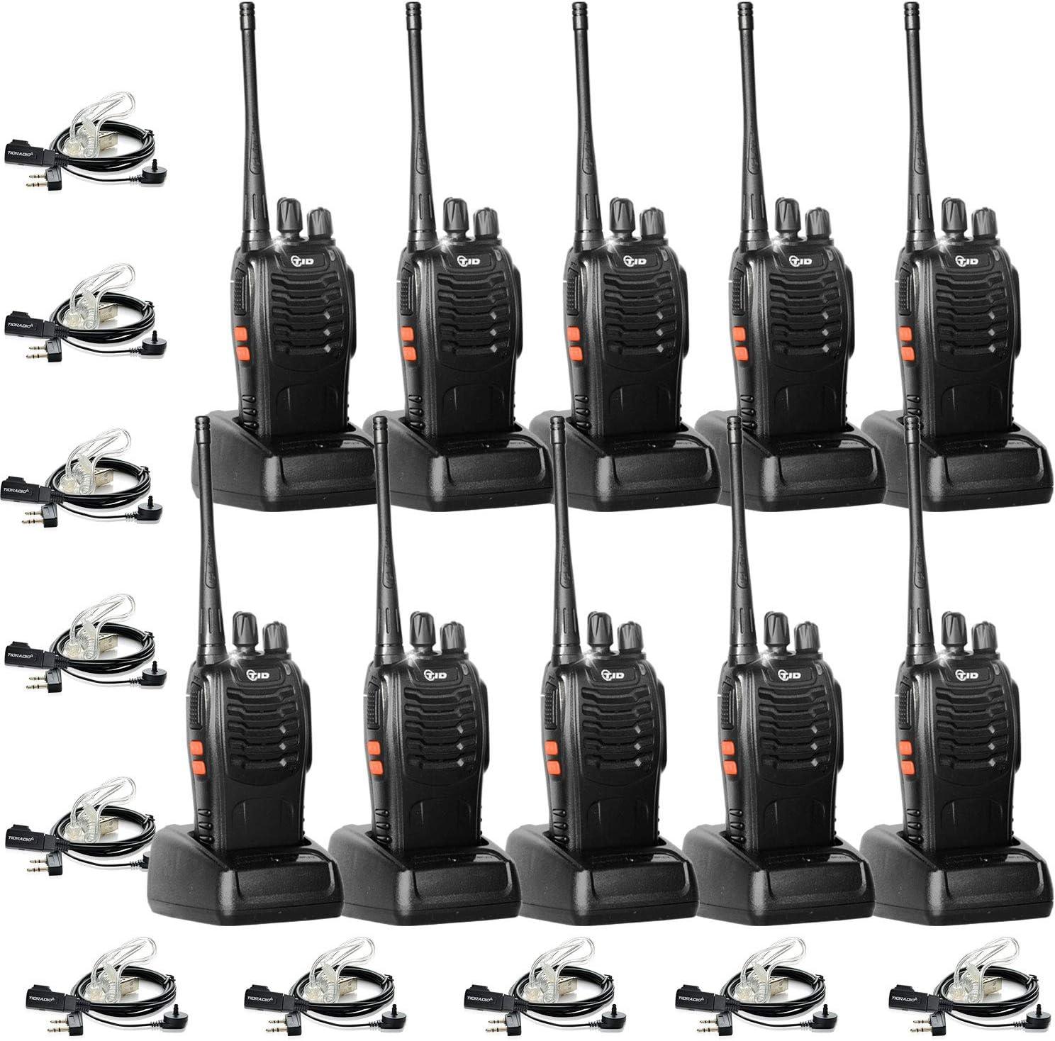 TID TD-V2 Two Way Radio Rechargeable 2 Way Radio UHF VOX Long Range 2-Way Radios Walkie Talkies for Adults with Secret Service Earpiece (10 Radio)