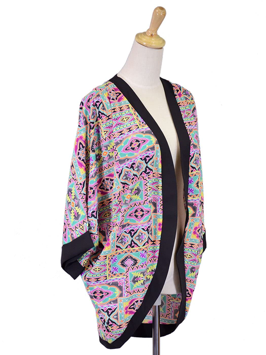 Anna-K Lush Abstract Printed Raglan Sleeves Open Front Woven Cardigan Cover-up Shawl