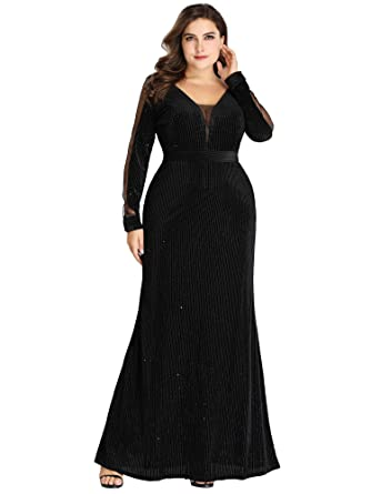 d73487d92ca Ever-Pretty Women Long-Sleeve V Neck Glitter Formal Evening Dress 12US Black