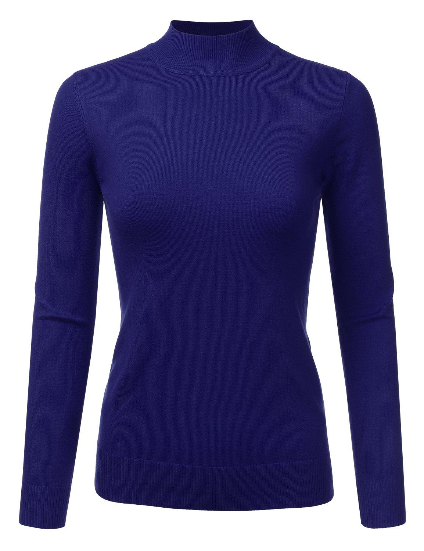 JJ Perfection Women's Soft Long Sleeve Mock Neck Knit Sweater Top RoyalBlue S