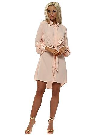 43d30ced0f4 AD LIB Girl Ad Lib Peach Tie Front Shirt Dress UK 8 Peach Coral   Amazon.co.uk  Clothing