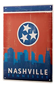 Tin Sign Retro Wall Art Metropole Nashville Tennessee Metal Plate 8X12""