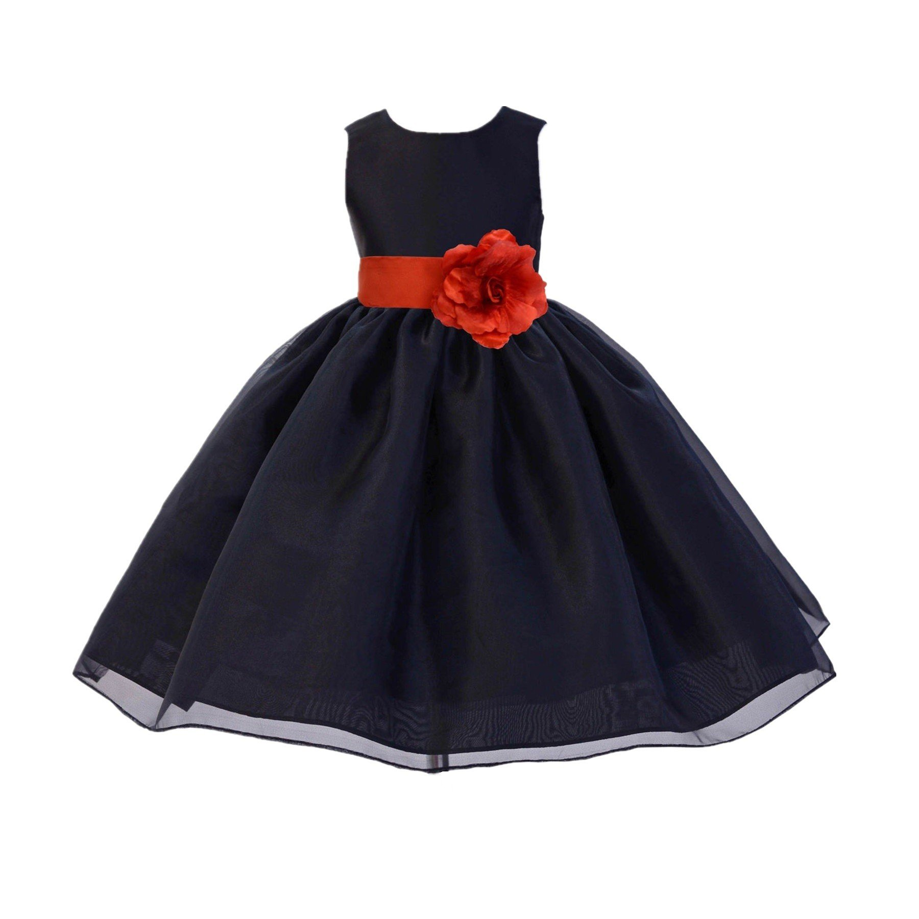 Black Satin Bodice Organza Skirt Formal Flower Girl Dresses Pageant Gown 841S 4