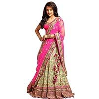 Salwar Style Women's Georgette Lehanga Choli (BH1009 _Pink_ Free Size)