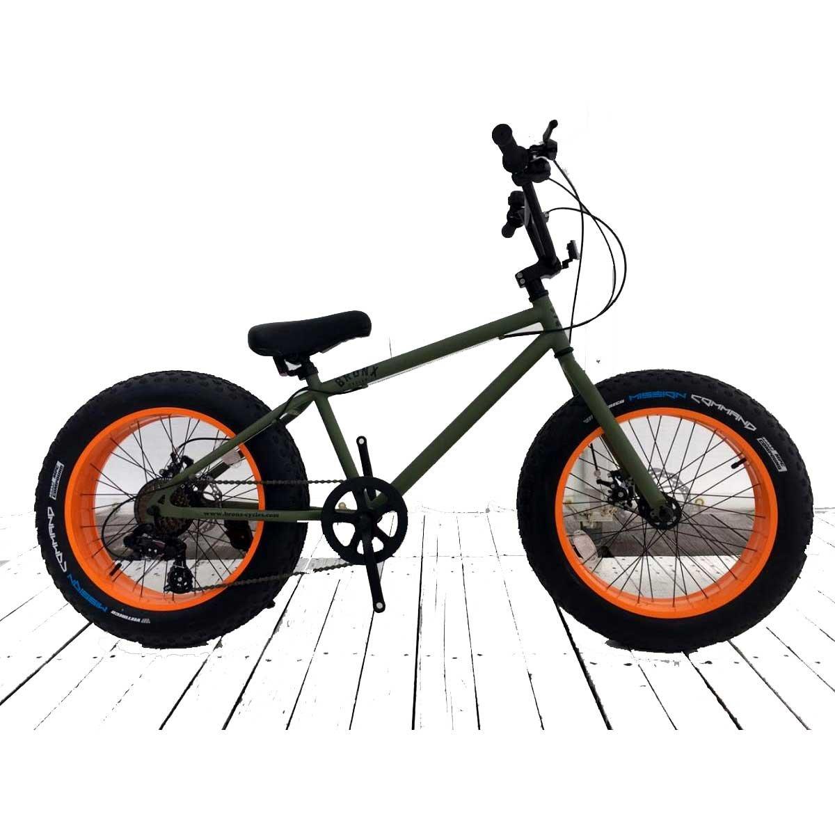 20inchBRONX-DD 【ブロンクス 20inch 変速付きミニベロファットバイク】 B076GLQ79K  アーミーグリーン×オレンジリム