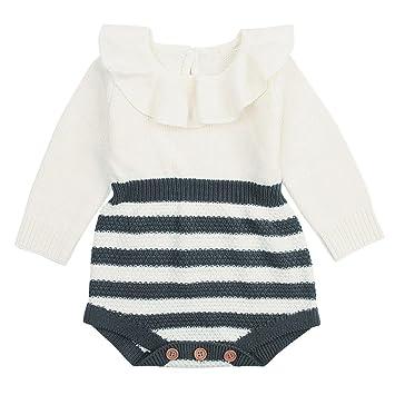 smileq recién nacido pelele de otoño infantil bebé niño Niña Volantes de punto manga larga Mono trajes ropa, gris: Amazon.es: Deportes y aire libre