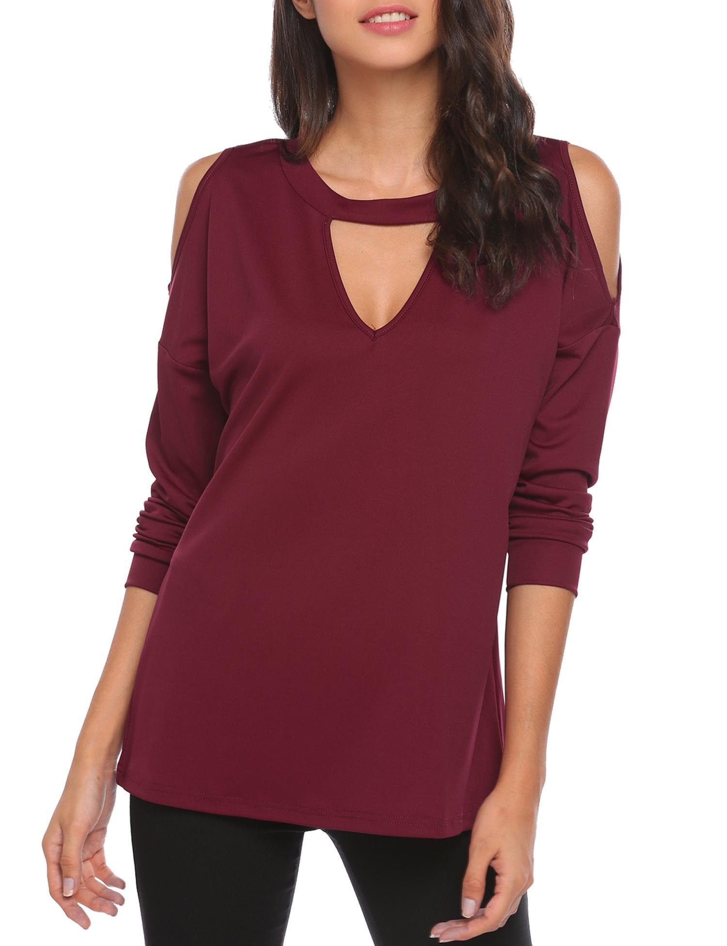 ThinIce Women's Long Sleeve Crew Neck Blouse Open Shoulder Pullover Tops (Wine Red, X-Large)