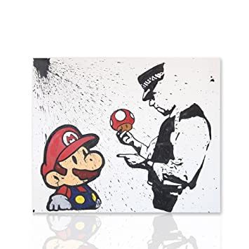 Cadre Pour Chambre Super Mario Bros Avec Black Banksy Tribute Sketch