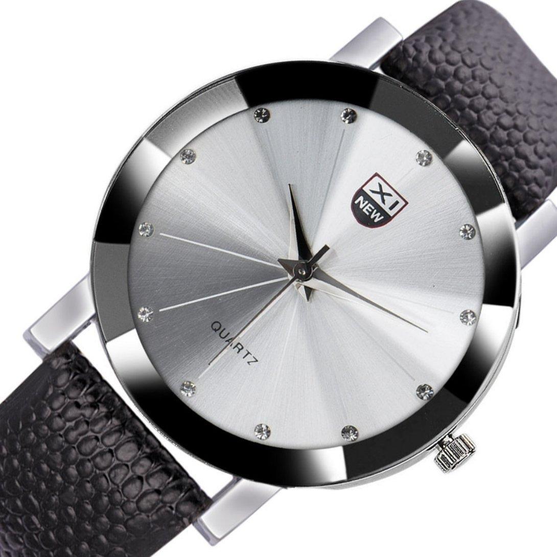 WensLTD Men 's Classyステンレススチールクォーツミリタリースポーツレザーバンドダイヤル腕時計 標準 w シルバー シルバー B01GJ1QA52