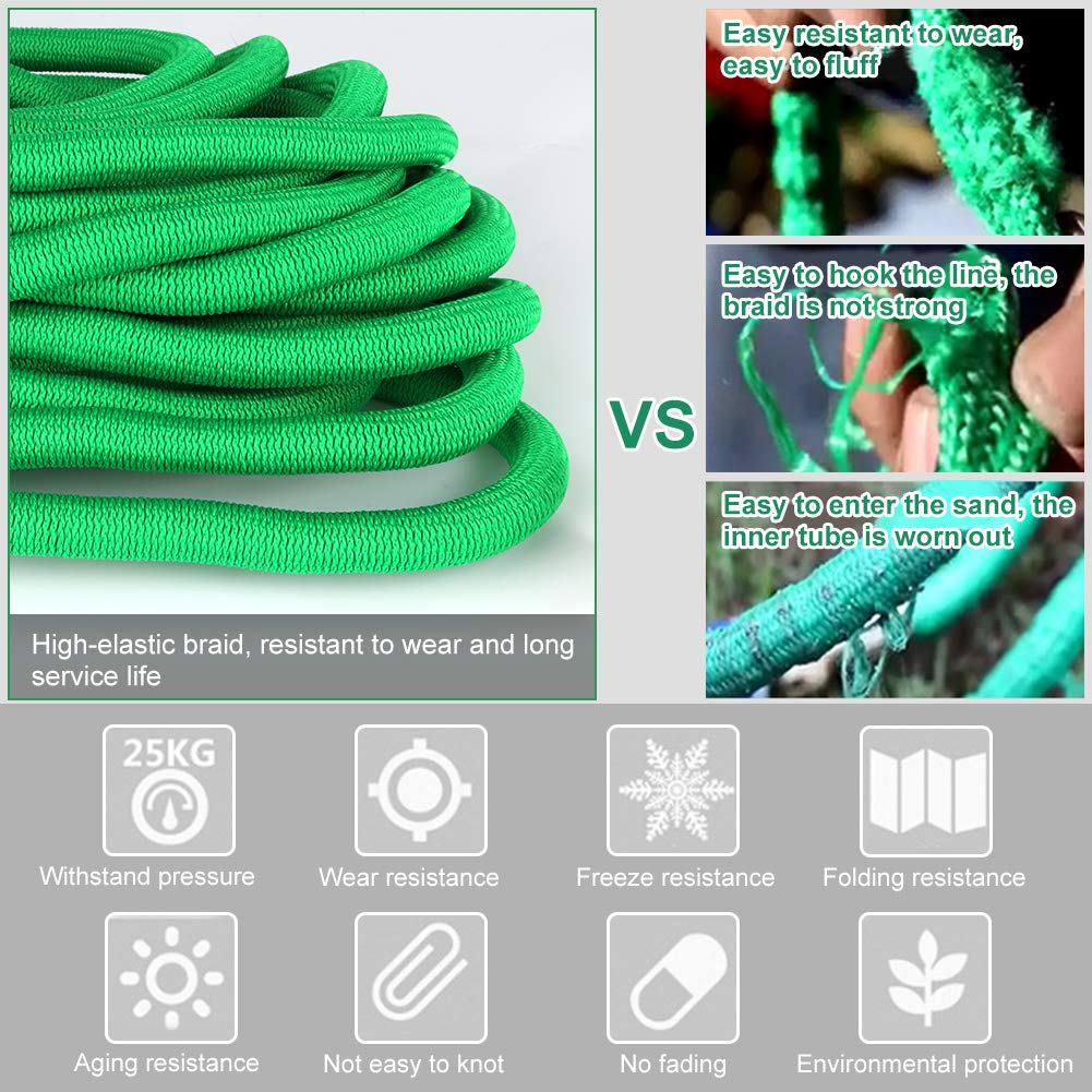 25ft 100FT Expanding Garden Hose Water Pipe Flexible Magic Hose //3 Times Expandable//9 Function Spray//Solid Brass Fittings//Anti-leakage Lightweight//Storage bag//Special Hose Hanger /…