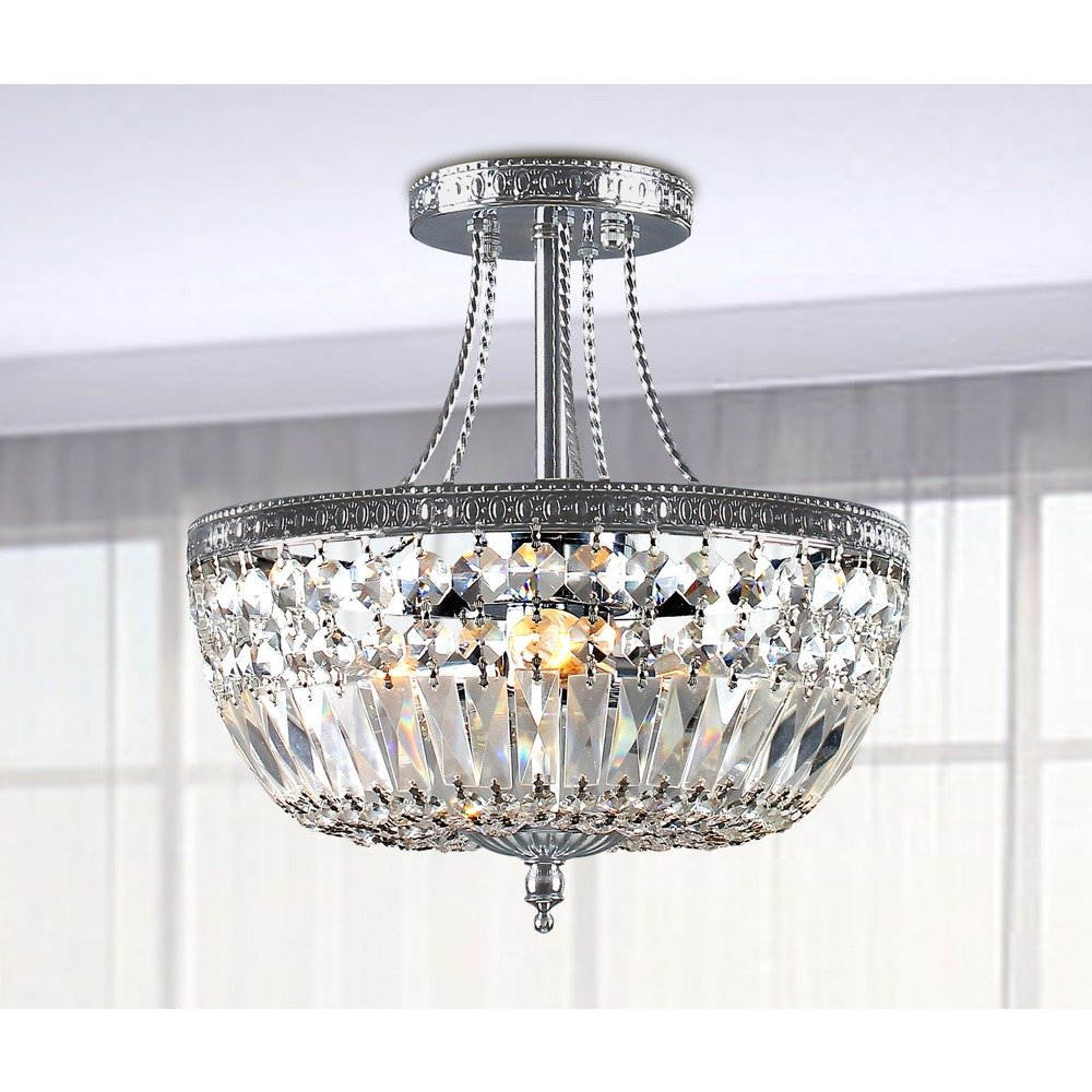 jessica crystal basket semiflush mount chrome light chandelier  amazoncom. jessica crystal basket semiflush mount chrome light chandelier