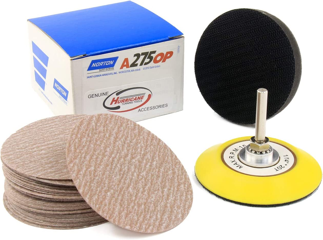 Norton A275 Sandpaper Choose from 80-1500 Grit includes Genuine Hurricane 3 inch Backer Pad and Soft Interface Pad Pack of 50 3 Hook and Loop Sanding Discs