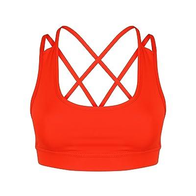 AA SPORTSWEAR Mujer Yoga Deporte Entrenamiento Ejercicio Fitness Sujetador Top Corto Camiseta Elástico Sujetador: Ropa y accesorios