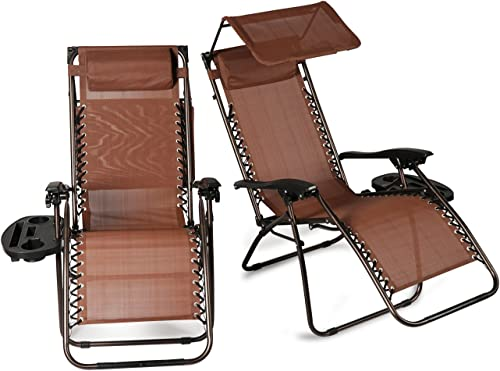 BELLEZE 2 Pack Zero Gravity Chairs Canopy Shade Cover Adjustable Headrest Pillows Ergonomic Recliner Phone Slot