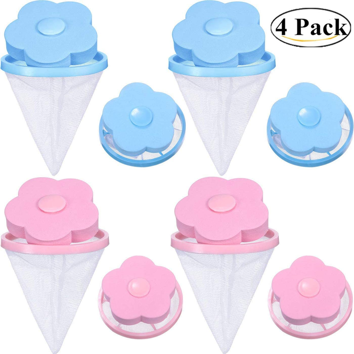 DurReus Portable Laundry Washing Machine Floating Lint Removers Reusable Hair Filter Catcher Mesh Bag Pack 4(Blue and Pink)