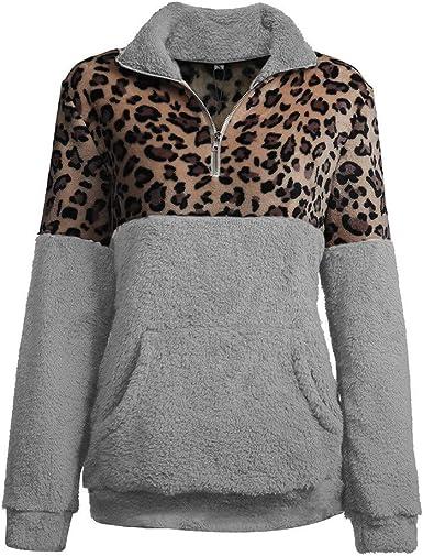 Boutique sale 2019 Otoño e Invierno Nuevo suéter de Manga Larga Costura de Leopardo Camisa de