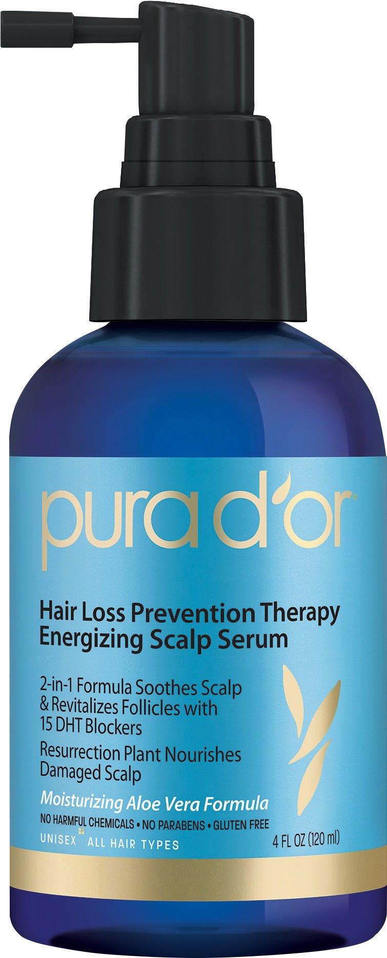 PURA D'OR Hair Loss Prevention Therapy Energizing Scalp Serum Hair Revitalizer Organic Argan Oil & Biotin, 4 Fluid Ounce