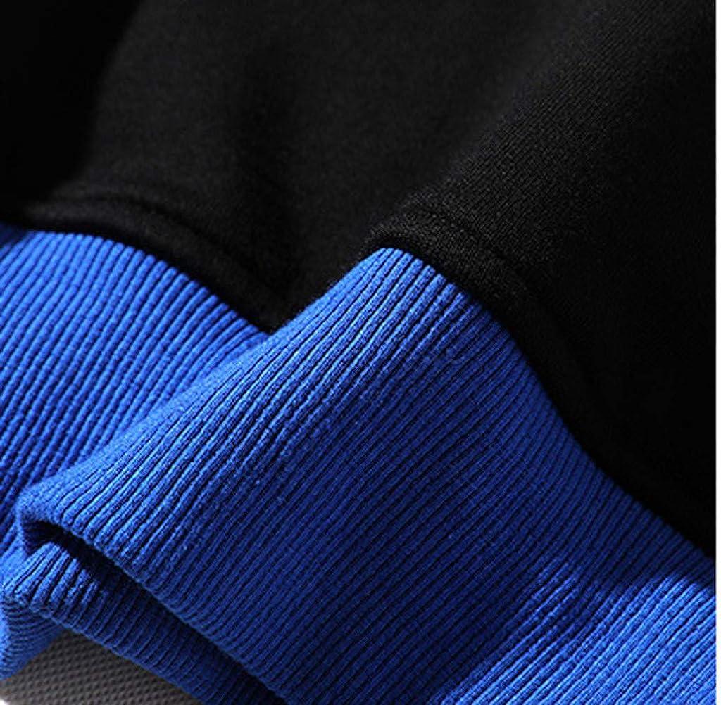 Mens Casual Long Sleeves Pocket Hoodie Solid Color Patchwork Sweatshirt Blouse Tops