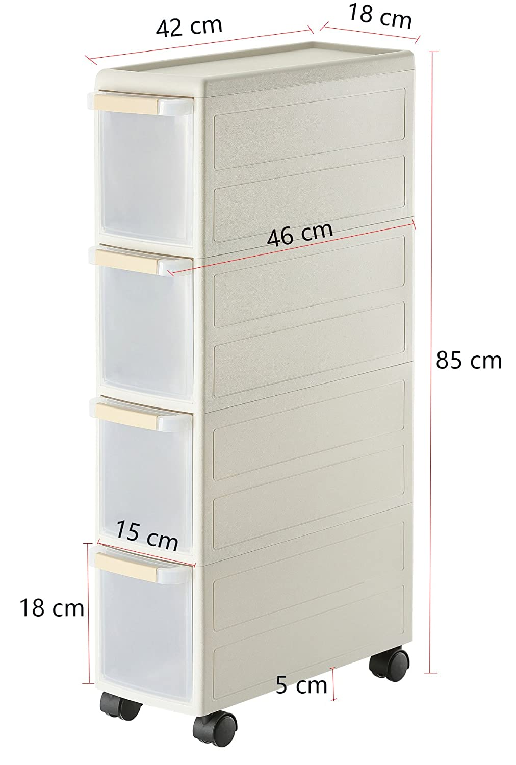Grey Orolay Plastic Storage Trolley with Drawers on Wheels Cabinet Rack 4 Drawers